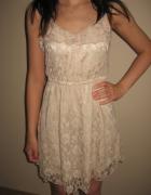 Pudrowa koronkowa sukienka H&M xxS XS 32 34...