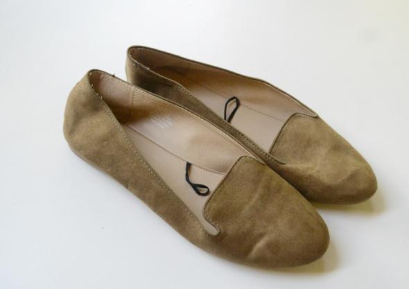 Mokasyny Balerinki Brązowe H&M 41 Brąz Karmelowe 27 cm