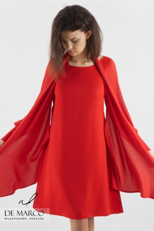 Suknie i sukienki Czerwona sukienka biurowa dla kobiet na stanowisku De Marco