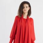 Czerwona sukienka biurowa dla kobiet na stanowisku De Marco