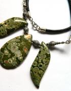 Zielony Jaspis Kambaba unikatowa kolia w srebrze...