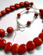 Koral w pastylkach i srebro elegancki zestaw biżuterii...