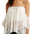 Nowy biały koronkowy cold shoulder 36 38 40 proc ceny
