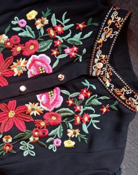 Koszule Czarna szyfonowa haftowana koszula one size jak nowa