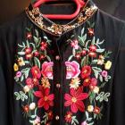 Czarna szyfonowa haftowana koszula one size jak nowa