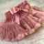 Piękna tiulowa puszysta różowa spódnica mini z kokardą 2 3 lata tutu