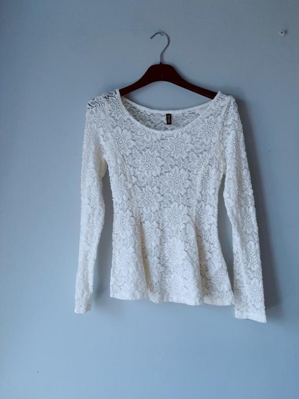Kremowa bluzka koronka H&M XS...
