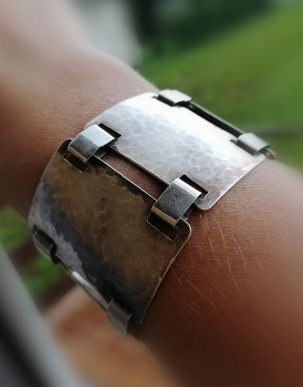 Stara niemiecka bransoletka srebro młotkowane