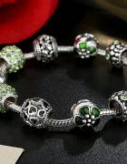Nowa bransoletka srebrna posrebrzana zielona modułowa zieleń ko...