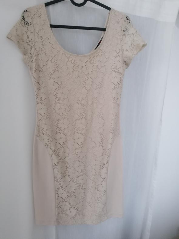 Suknie i sukienki Krótka beżowa sukienka