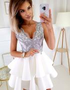 Urocza piankowa sukienka SZARY ecru XS S M L...