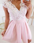 różowa sukienka zdobiona ecru koronka XS S M L...