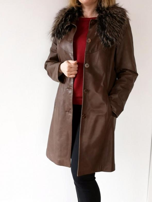 Brązowa skórzana kurtka z odpinanym kołnierzem skóra naturalna ...