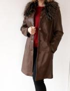 Brązowa skórzana kurtka z odpinanym kołnierzem skóra naturalna 42
