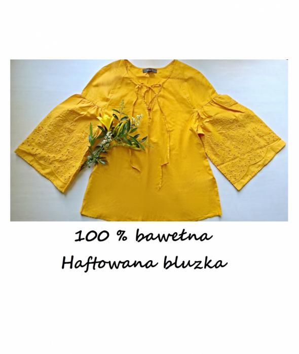 Wyszywana żółto miodowa bluzka bawełna haftowana...