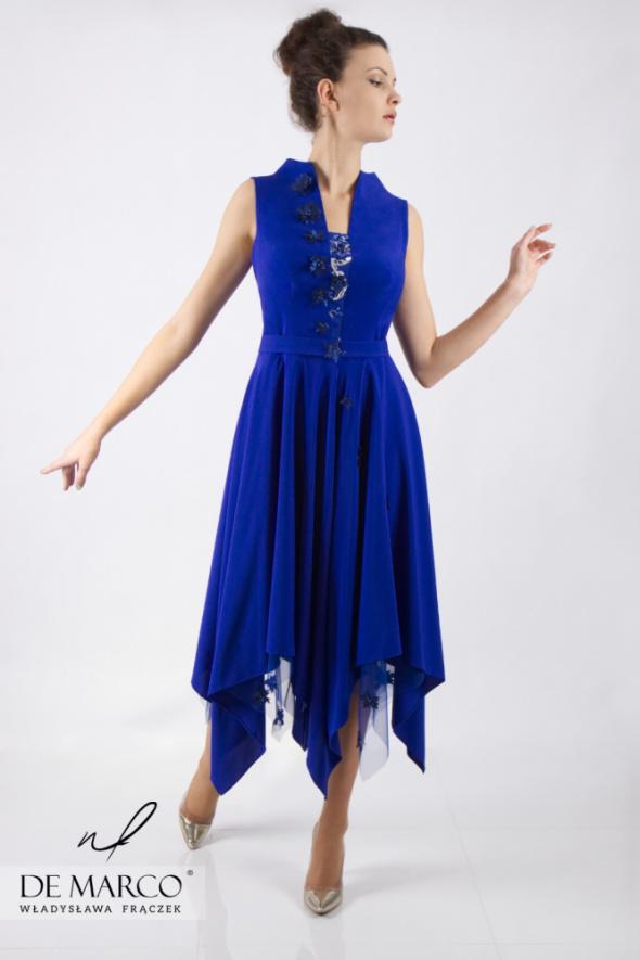 Oryginalna sukienka szafirowa bez rękawków De Marco...