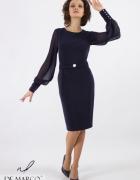 Granatowa sukienka z długim rękawem i fasonem ołówkowym De Marc...