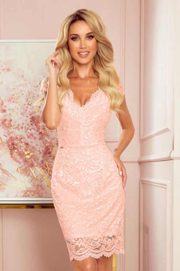 Koronkowa sukienka krótki rękaw dekolt BRZOSKWINIA S M L XL