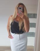 Biała jeansowa spódniczka mini S M elastyczna jak nowa...