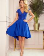 PATRICIA sukienka dłuższy tył i koronkowy dekolt L 40 chaber...