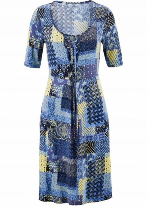 Wiązana sukienka niebieskie wzory 44 lub 46...