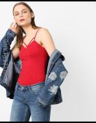 czerwony top koszulka bluzka Tally Weijl xxs 32 xs 34 dekolt...