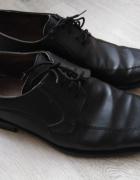 Czarne buty męskie 43 półbuty eleganckie pantofle wizytowe