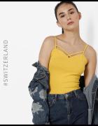 żółty top Tally Weijl xxs 32 xs 34 gładki dekolt koszulka bluzk...