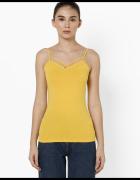 żółty top Tally Weijl xxs 32 xs 34 kropki dekolt bluzka koszulk...