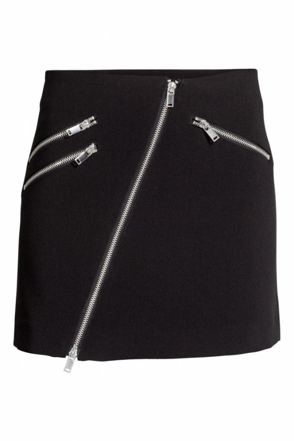Spódnice czarna spódniczka spódnica H&M xxs 32 zip zamek ukośny zamki