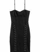 czarna sukienka H&M xxs 32 gorset bandażowa sznurowania...