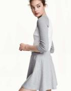 szara biała koszulka top bluzka H&M xs 34 bejsbolówka...