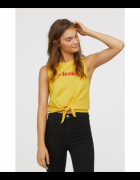 żółty top H&M xs 34 koszulka bluzka nowy plaża lato...