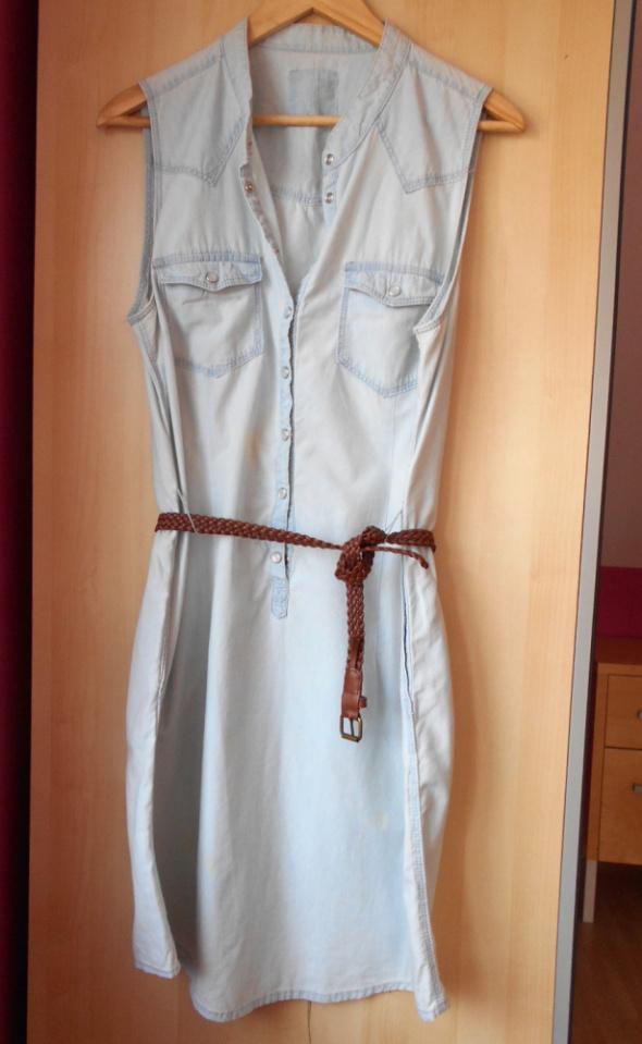 HM sukienka lyocell z paskiem