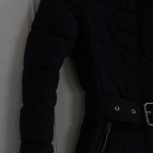 Granatowa kurtka Bershka xs 34 taliowana pasek pikowana talia