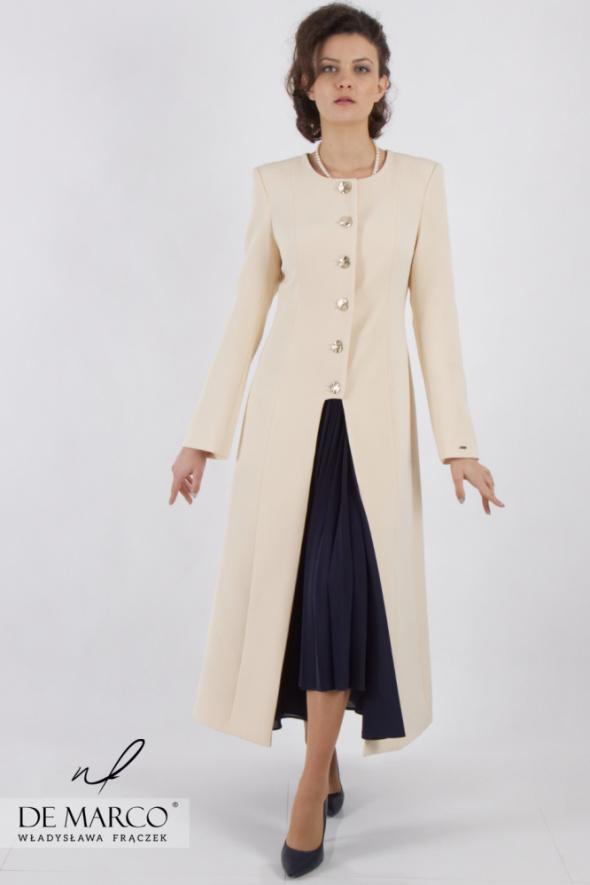 Komplety Piękny komplet wizytowy elegancka sukienka z płaszczem damskim De Marco