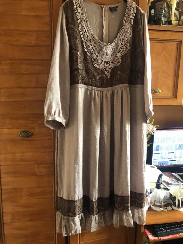 Cellbes śliczna sukienka boho dla puszystej 46 48