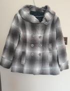 Płaszcz brązowy beżowy w kratke jesienny krótki...