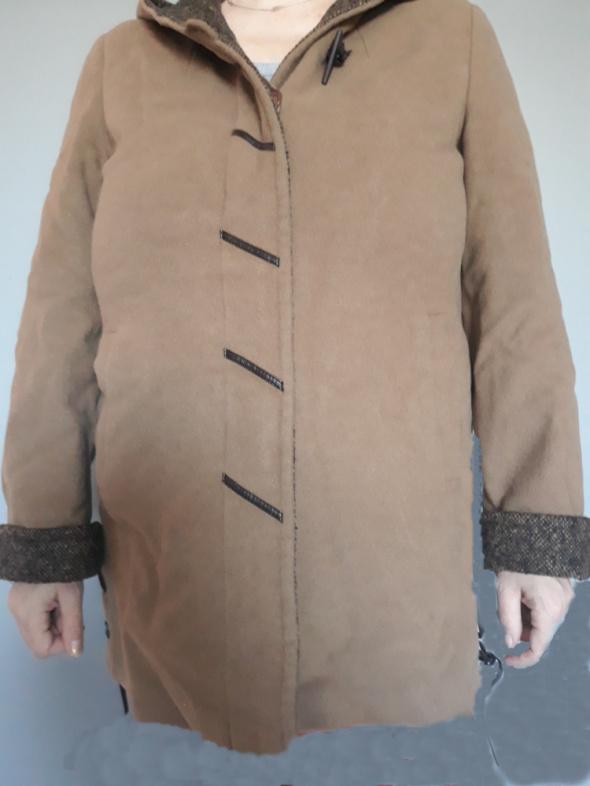 Płaszcz brązowy jesienny z kapturem Getex...