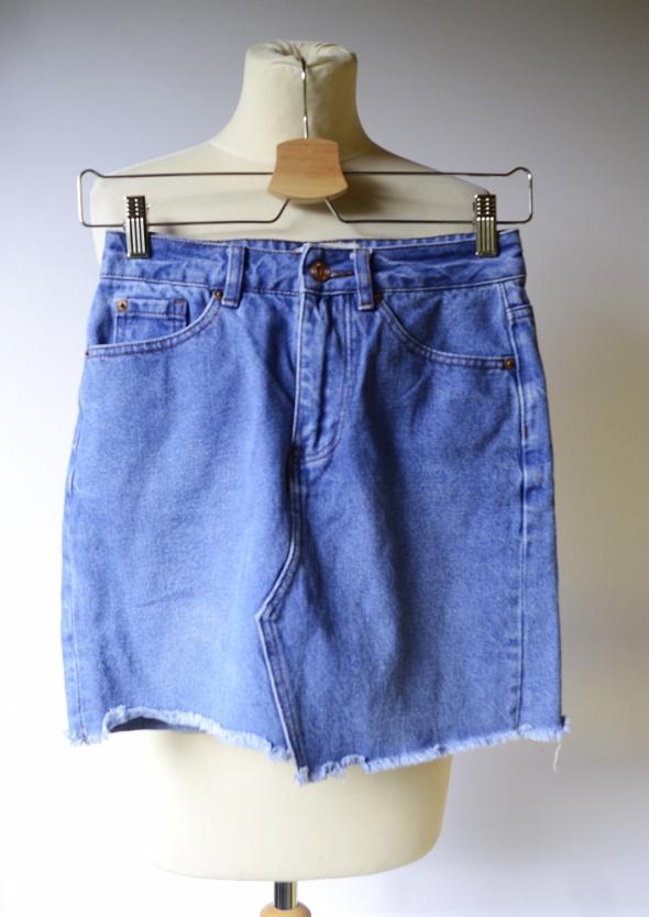 Spódniczka Dzinsowa New Look 34 XS Postrzępiona Jeansowa