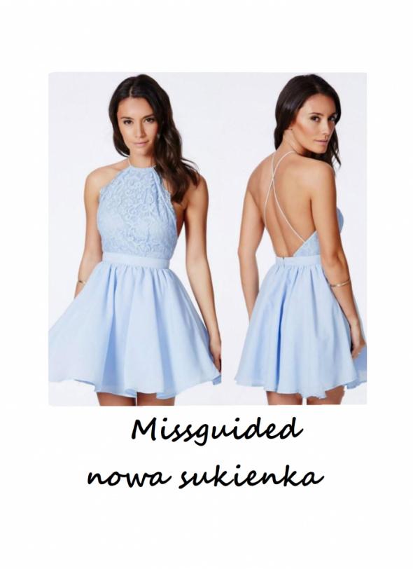 Nowa sukienka Missguided z koronką XS S rozkloszowana odkryte p...