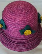 Różowy słomkowy kapelusz rozmiar 54