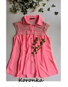 Różowa neonowa bluzeczka z koronką rozm S M...