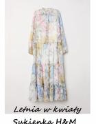 Szyfonowa długa sukienka w kwiaty rozm S M...