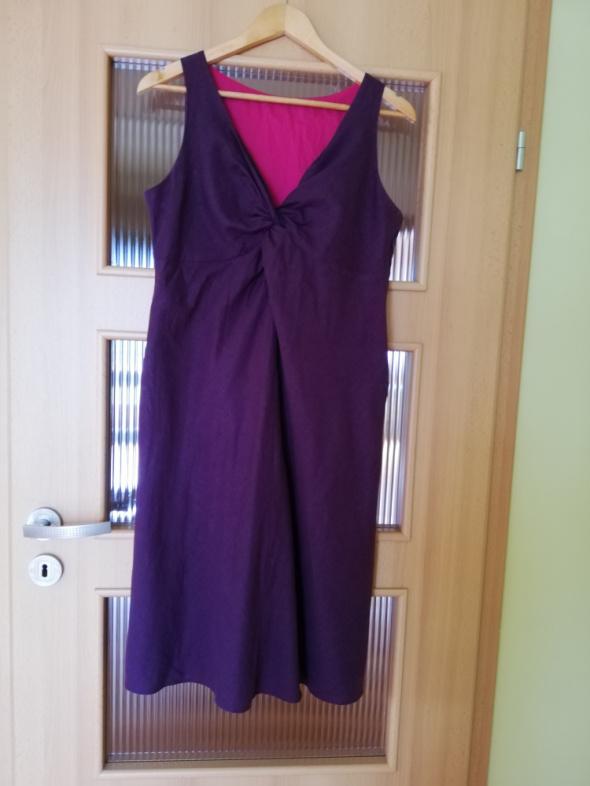 fioletowa lniana sukienka...