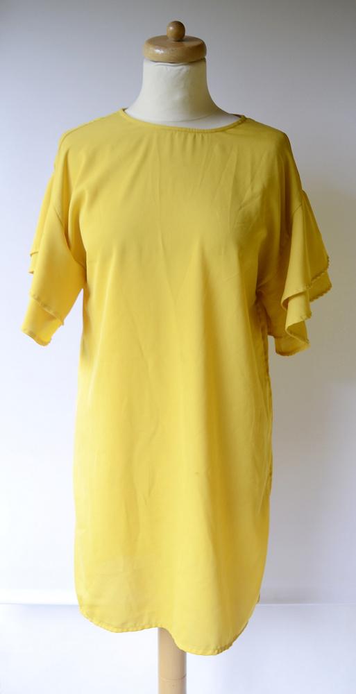 Sukienka Żółta Słoneczna Falbanka M 38 Oversize