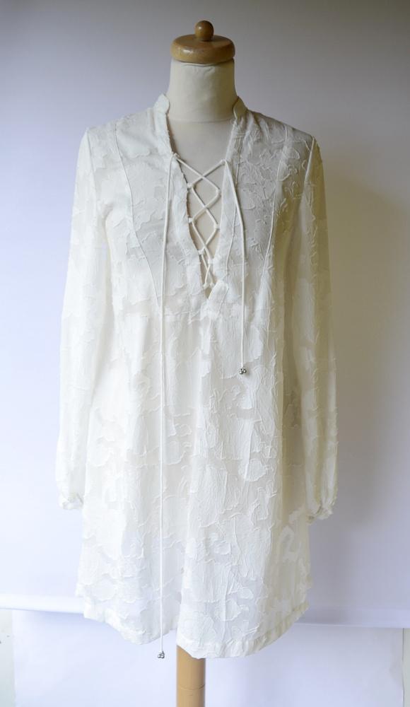 Tunika Plażowa H&M S 36 Sukienka Biała Tłoczony Wzór Biel...