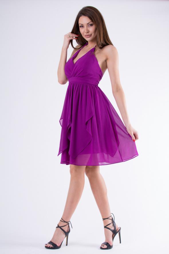 rogata sukienka z wiązaniem na szyi S M L kolory...
