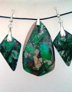 Zielony jaspis z pirytemwisiorek i kolczyki zestaw biżuterii...