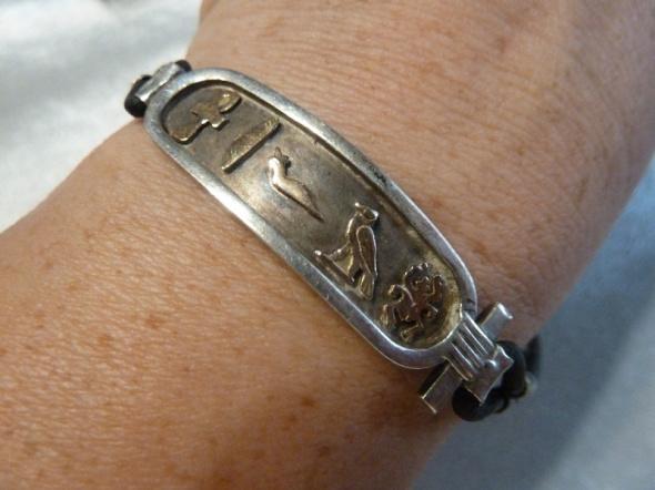 bransoletka srebro ze złoceniami wzory egipskie